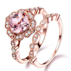 Jewelry - Pink Diamond Ring Set Rose Gold Tone Sterling Deco